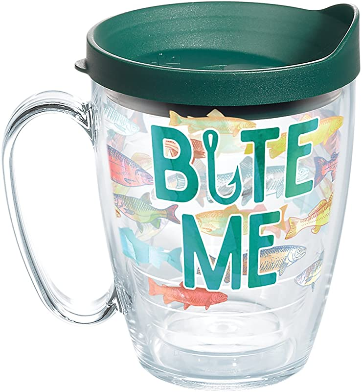 Tervis 1267543 Bite Me Bait Tumbler With Wrap And Hunter Green Lid 16oz Mug Clear