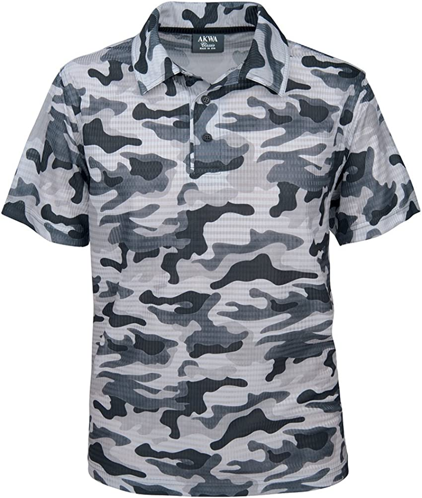 Akwa Men's 100% quality warranty Rapid rise Made in USA Camouflage Shirt Polo Moisture with Camo