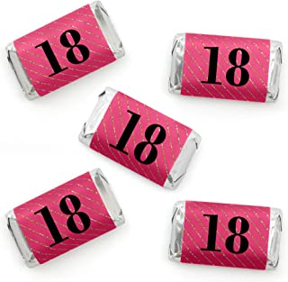 Chic 18th Birthday - Pink, Black and Gold - Mini Candy Bar Wrapper Stickers - Birthday Party Small Favors - 40 Count