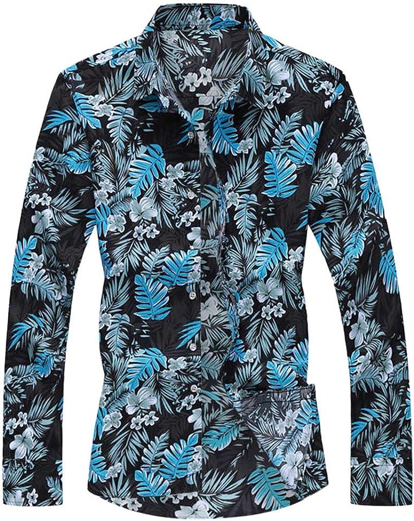 Mens Autumn Fashion Shirts Casual Long Sleeve Beach Tops Loose Casual Blouse