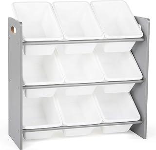 "Tot Tutors Toy Organizer, 9 Bin Storage, Grey/White, 24"" Tall"