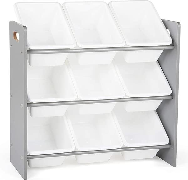Tot Tutors WO848 Toy Organizer 9 Bin Storage Grey White 24 Tall