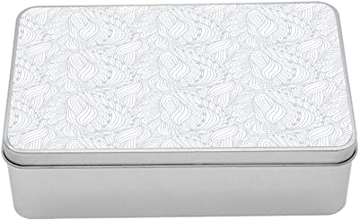 """Ambesonne Grey and White Metal Box, Doodle Style Botanical Leaves Pattern Shabby Ornamental, Multi-Purpose Rectangular Tin Box Container with Lid, 7.2"""" X 4.7"""" X 2.2"""", Grey White"""
