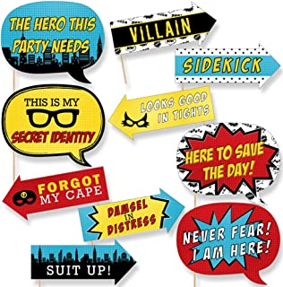 Funny BAM! Superhero - Baby Shower Or Birthday Party Photo Booth Props Kit - 10 Piece