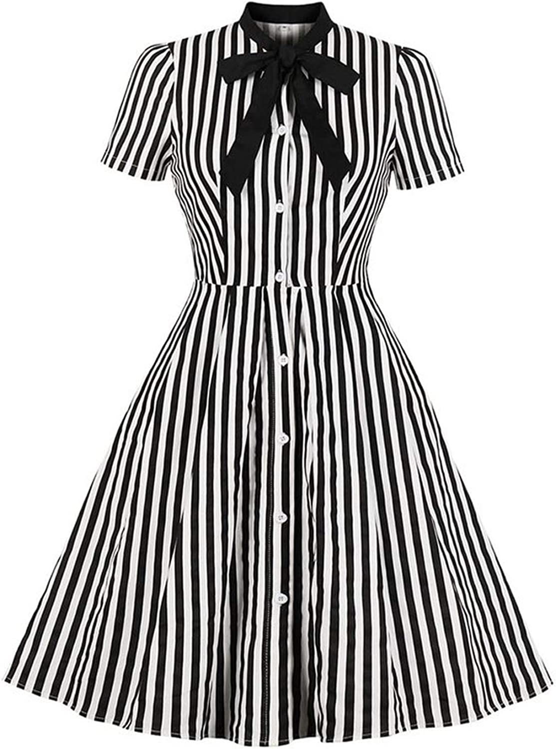 Vintage Stripe Midi Dress Women Summer Bow Collar Office Casual Goth Ladies Retro Dresses