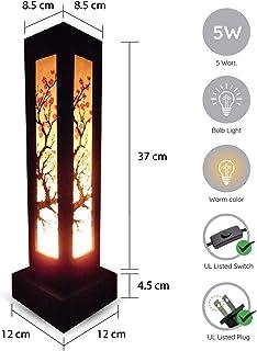 OK Lighting OK-9138T Flower Glass Shade Metal Table Lamp Bronze Finish 38-Inch