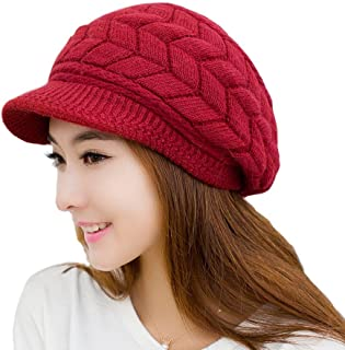 RRiody Girl's Women Winter Warm Knit Thicken Beret Hat Wool Snow Ski Caps with Visor