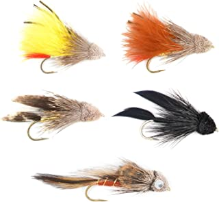 The Fly Fishing Place Muddler Minnow and Sculpin Streamer Flies - Set of 5 Bass and Trout Fly Fishing Flies - Hook Sizes 2 and 4
