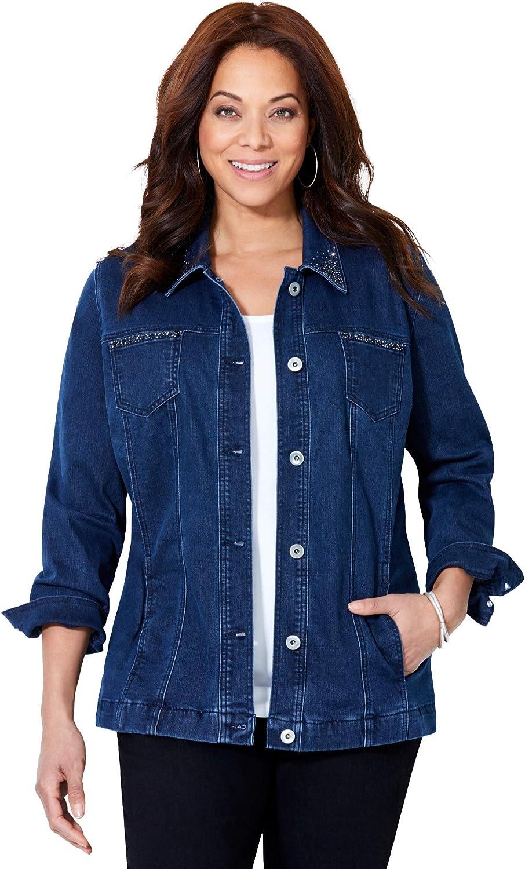 Catherines Women's Plus Size Sparkling Denim Jacket