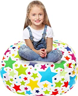Stuffed Animal Storage Bean Bag - Large Beanbag Chairs for Kids - 90+ Plush Toys Holder and Organizer for Boys and Girls - 100% Cotton Canvas Cover - Holiday Stars