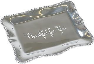 Thankful Giftables Denisse Pearl 7 x 5 Inch Aluminium Alloy Engraved Trinket Tray