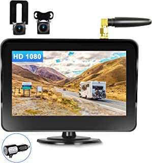 $129 » Sponsored Ad - CAMECHO Wireless Backup Cameras 5'' HD 1080P Monitor with Dual Cameras 170° Rear View/Front Camera IP68K Wa...