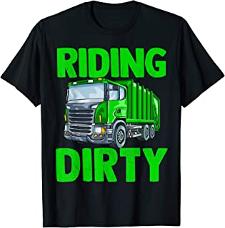 Recycling Trash Garbage Truck T Shirt Kids Men Riding Dirty T-Shirt