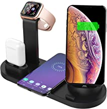 Wireless Charger 4 in 1 Qi-Certified Charging Station (2019 Upgrade) Compatible with Apple Watch iWatch 5 4 3 2 1, Airpods,iPhone 11 11 Pro X Xs XR Max 8 Plus 8,Samsung Galaxy S9 S8 (Black)