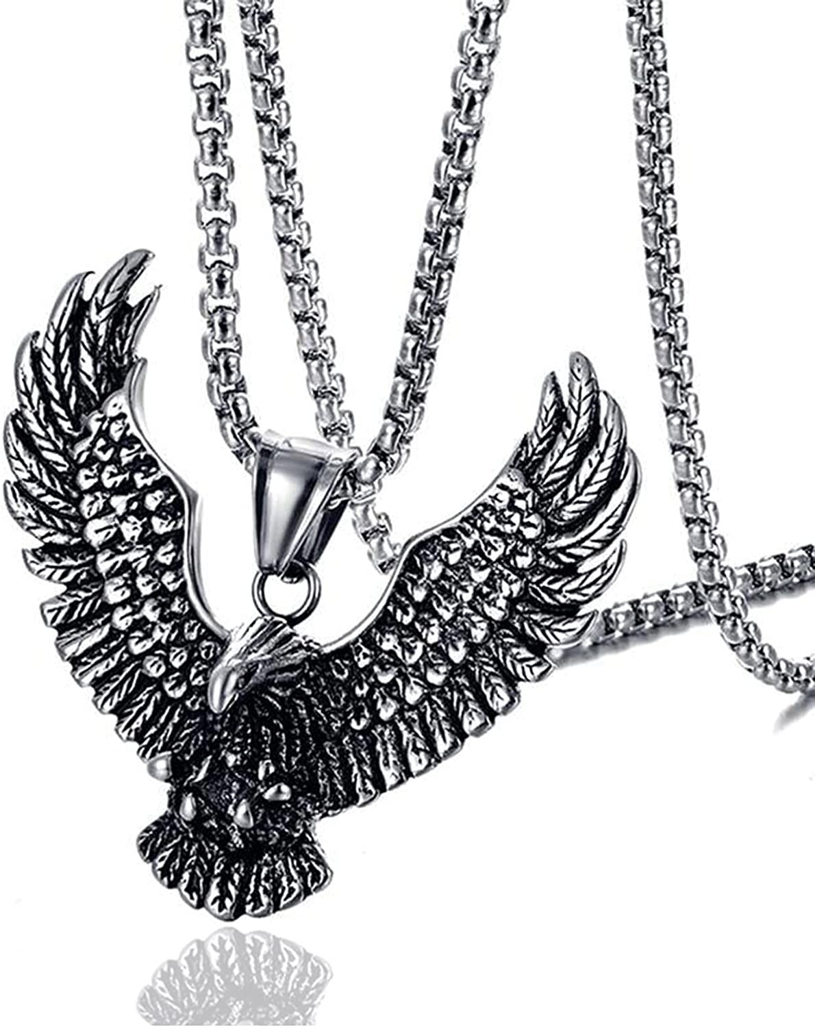 Fusamk Punk Rock Stainless Steel Animal Eagle Tag Pendant Wings Necklace