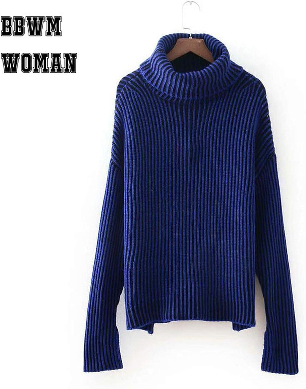 SHILINWEI Long Sleeve Turtleneck Stripe Sweater Women 3 color Can Choose Warm Winter Casual Sweaters ZO1187