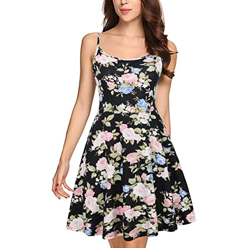 74e8a090cc FANSIC Womens Sleeveless Floral Printed Swing Sundress Spaghetti Strap  Dresses