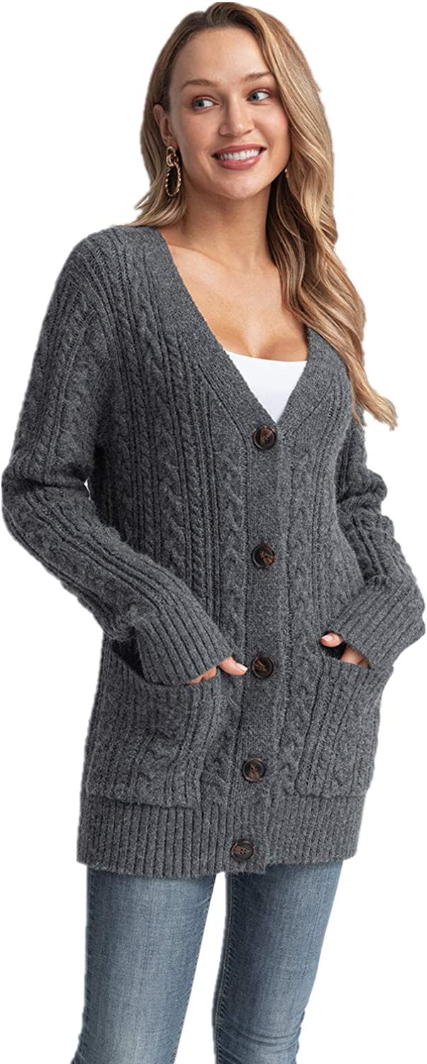 Laraine Women's Long Sleeve Cable Dallas Mall Front Knit Chunky Free shipping anywhere in the nation Open Sweater