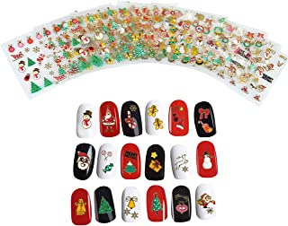 CCbeauty 3D Christmas Design Nail Sticker for Women DIY Nail Art Stickers Decals Snowflakes Snowmen Santa Manicure Decoration Nails Accessories,12 Sheets