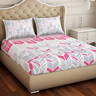 "Spaces Atrium Plus 210 TC 100% Cotton King Size Double Bedsheet with 2 Pillow Covers (Abstract, 88"" X 108"" Inches) - Pink"