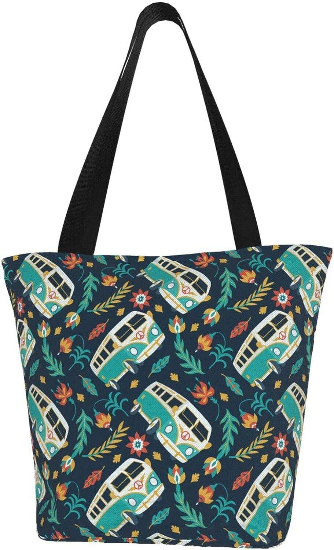 Peace Sign Car Green Olive Branch Themed Printed Women Canvas Handbag Zipper Shoulder Bag Work Booksbag Tote Purse Leisure Hobo Bag For Shopping