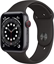 AppleWatch Series 6 (GPS + Cellular, 44mm) - Space Gray Aluminum Case with Black Sport Band (Renewed)