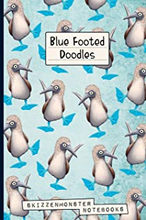 Blue-Footed Doodles: Funky Blue-Footed Booby Notebook with dot-grid and blank pages for stress relief doodling & notes