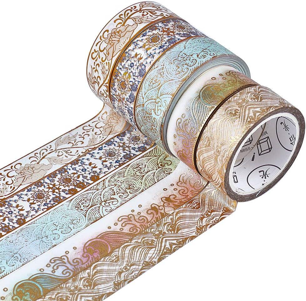 CRASPIRE 5 Rolls Max 49% OFF Gold Max 57% OFF Washi Tape 15mm Set Deco Foil Masking Wide