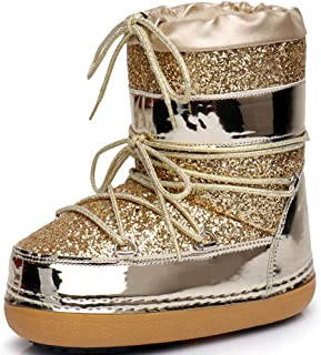 Moon_1 Women Ankle High Ski Snow Winter Lace Up Glitter Moon Boots