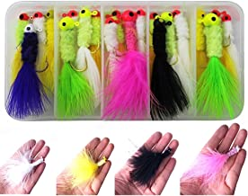 20pcs/box White/yellow/black/pink Color Fishing Marabou Jigs Crappie Jigs Lures Kit Fishing Lead Head Hook with Feather Marabou Chenille for Bass Pike Walleye Ice Fly Fishing Size: 1.9g/2.1g/3.5g/3.8g