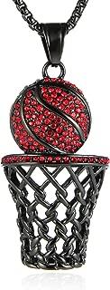 Mens 18k Gold Silver Plated Basketball Rim CZ Inlay Pendant Hip Hop Box Chain