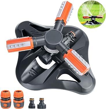 Bearbro Garden Sprinkler,Lawn Watering Sprinkler,Automatic 360 Degree Rotating Lawn Sprinkler,Large Area Coverage Adjustable