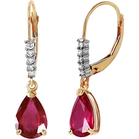 Galaxy Gold 14k Solid Yellow Gold Leverback Earrings 3.15 ct Rubies Diamonds