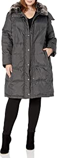 Women's Plus-Size Mid-Length Faux-Fur Collar Down Coat with Hood