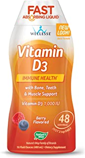 Nature's Way Vitamin D3 1000 IU, Fast Absorbing Supplement, 48 day supply, 16 Ounces, Natural Berry
