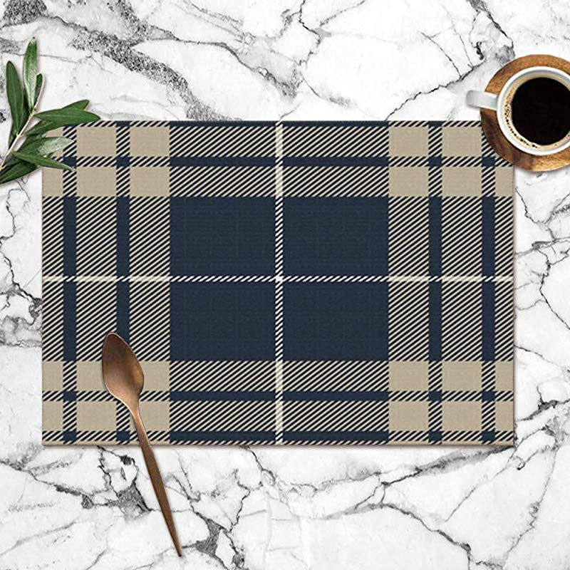 Cool Pillow Placemats Set Of 6 Blue Gray Tartan Plaid Traditional Textile Beauty Fashion Heat Resistant Placemats Washable Table Mats For Kitchen Dining Table 12X18 Inch