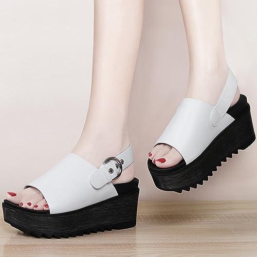 YTTY Pente avec des Sandales en Dentelle en Muffins en épaisseur Chaussures Femmes Féminines Après Le Voyage avec des Chaussures Blanc 39
