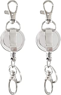 ID Holder - Badge Reel Retractable with Key Ring and Claw Clasp (2 Pack)