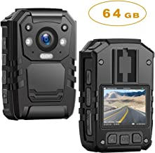 1296P HD Police Body Camera,64G Memory,CammPro Premium Portable Body Camera,Waterproof Body-Worn Camera with 2 Inch Display,Night Vision,GPS for Law Enforcement Recorder,Security Guards,Personal Use