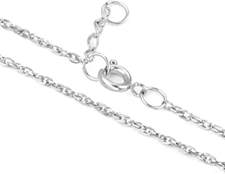CHOMAY Women's Rope Chain Necklace Non-Break 316L Stainless Steel Solder Joints 2cm Extension 45cm 50cm