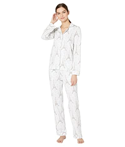 BedHead Pajamas Long Sleeve Classic Notch Collar Pajama Set (Blue Eiffel) Women