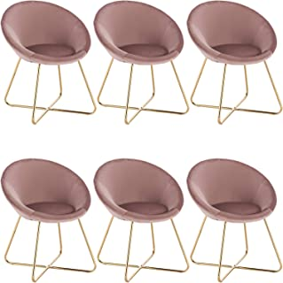 WOLTU 6 X Chaises de Salle à Mange Chaise pour Salle de séjour Fauteuil de Salon Moderne siège en Velours,Rose BH217rs-6
