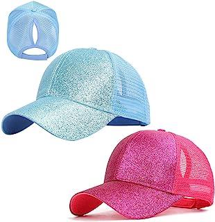 Gellwhu 2 Pack Kids Girls Glitter Ponytail Baseball Hat Messy Buns Ponycaps Visor Cap