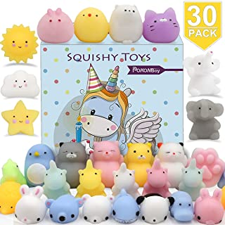 POKONBOY 30 PCS Squishies Mochi Squishy Toys, Mini Kawaii Squishy Animals Squeeze Stress Relief Toys Easter Basket Stuffer...