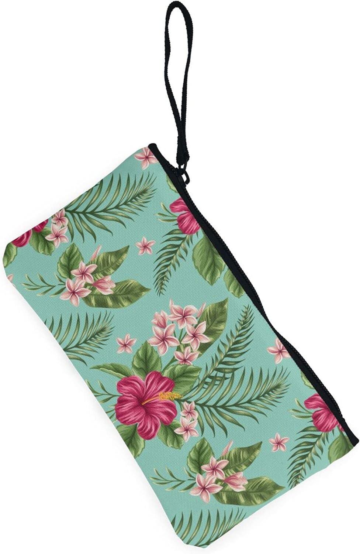 AORRUAM Hawaiian Tropical Leaves Flowers Canvas Coin Purse,Canvas Zipper Pencil Cases,Canvas Change Purse Pouch Mini Wallet Coin Bag