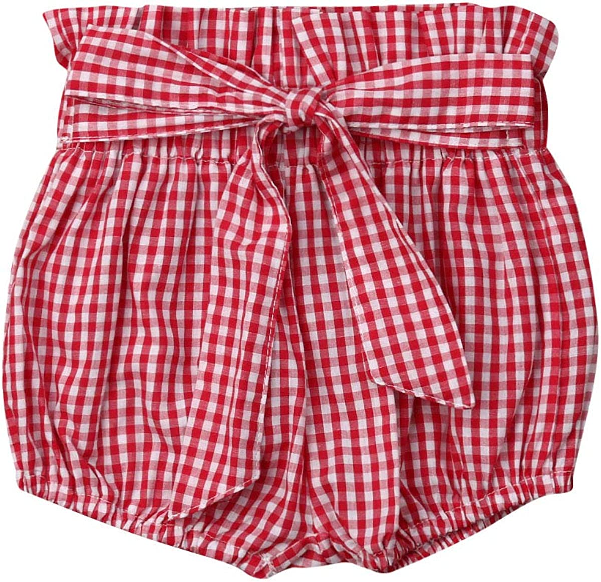 Toddler Infant Baby Girl Floral Plaid Dots Shorts with Belt Bloomer Bottoms Summer Shorts