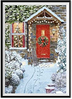 Cinhent Diamond Painting, Merry Christmas 5D Rhinestone Decoration Pasted Embroidery Painting Cross Stitch Home Wall/Door Hanging, Beautiful Outdoor Snow Scene - 30 × 40CM, Clearance Sale (K)