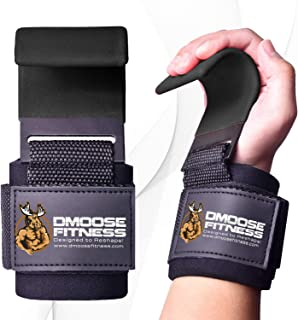 DMoose Fitness Weight Lifting Hooks Grip (Pair) - 8 mm Thick Padded Neoprene, Double Stitching, Non-Slip Resistant Coating...