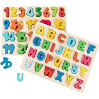 Joqutoys Wooden Chunky ABC and Number Learning Puzzles Board