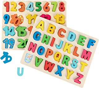 Joqutoys Wooden Alphabet Puzzles Set for Toddlers, Uppercase Letter and Number Learning Board Game, Educational Learning Letter Toys for Kindergarten and Preschool Girls and Boys Gifts